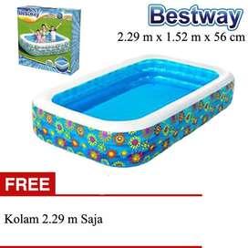Kolam Renang Anak Merk Bestway Ukuran 2.29mx1.52mx56cm Motif Flora