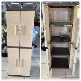 Gratis ongkir bjm - Lemari plastik 2 pintu / 4 rak dalam