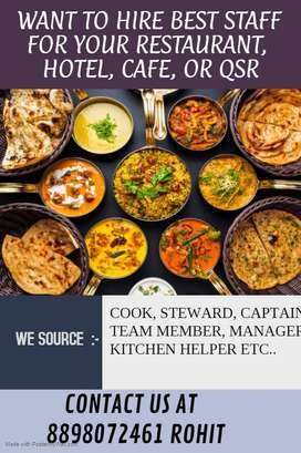 We Provide Staff in Hotel Restaurant Cafe in Bangalore call 8898O72461