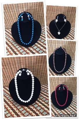 Perhiasan Kalung & Anting Mutiara Air Tawar Asli Original