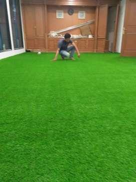 Alam Hijau Taman Asri -Karpet Rumput Latar Dengan Sintetis