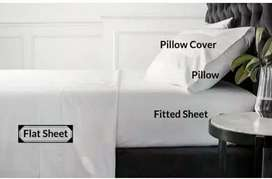 Sepre hotel putih datar flat sheet tanpa karet 180x280 katun 300TC