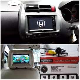 Paket Head unit TV buat mobil Honda jazz plus kamera mundur