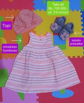 Dress baby + sepatu prewalker + topi