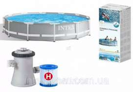 INTEX 26702 (size:10ft/30inc) prism metal frame pool with filter (H).
