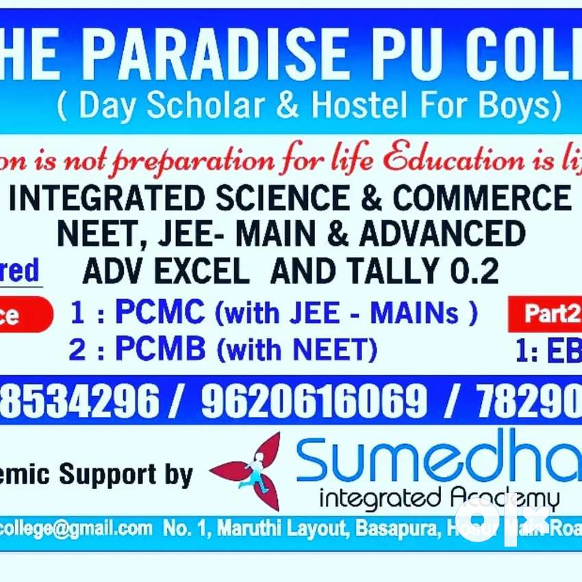 Wanted Science&Commerce faculties to teach for PU level