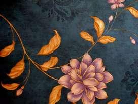 Wallpaper vynil motif bunga ukuran 53cm x 10meter