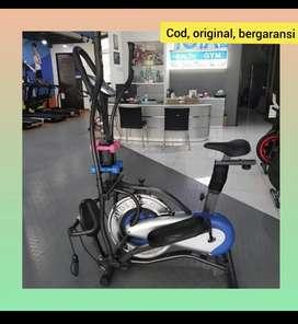 Alat fitnes gym sepeda statis murah multifungsi Orbitrek platinum bike