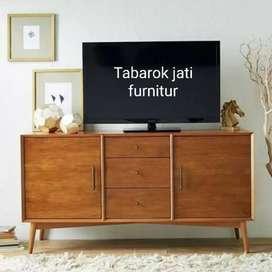 Meja tv retro moderen pintu 2 sledeng, P.150cm, bahan kayu jati tua
