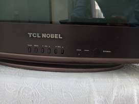 """TCL Nobel 21"""" tv with white screen display"""