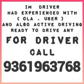 I'm Ola Driver. Want Driving Job. (Any) Cars Only
