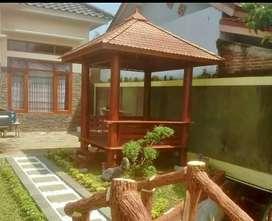 Saung Gazebo kayu kelapa ukuran 2x2m ready stok