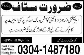 Part time/online job/vacancy available for males/female