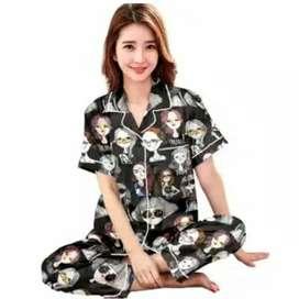 Piyama Motif Retro Baju Tidur Wanita
