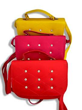 Pink + Red + Yellow PU leather Cross Body bag for Girls