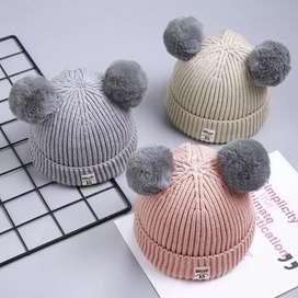 PROMO - Topi kupluk wol hangat dengan hiasan bola untuk anak