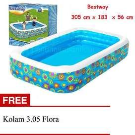 Kolam Renang Anak Merk Bestway Ukuran 3.05 m x 1.83 m x 56 cm Flora