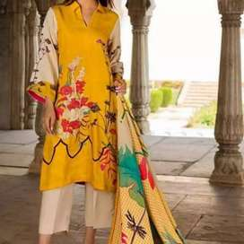 3pc embroidered lawn with chifon dupatta