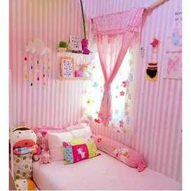 Wallpaper dinding star pink