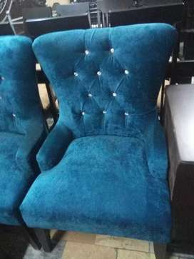 Two Blue comfy room sofa chairs