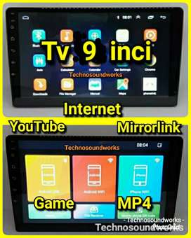 Tv 9 in internet Android YouTube mp4 head unit double din paket sound