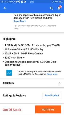 Vivo V9 pro  New mobile only 5month old...
