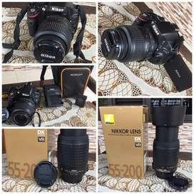 DSLR NIKON D5100 kit fullset + telle + tripod
