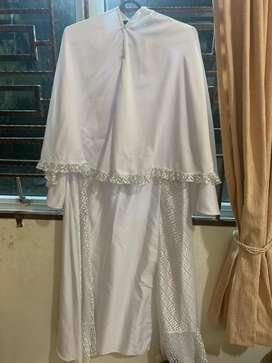 Gamis Rabbani + jilbab Rabbani putih tulang