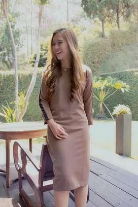 Brown Stripe  Baju Wanita Dress Cardigan kardigan