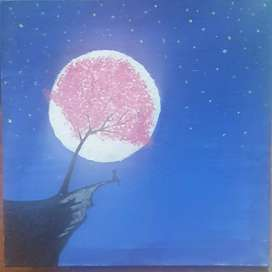 Arcylic painting / A beautiful blossom tree / Night scenery