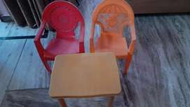 2 chairs and 1 table for kids