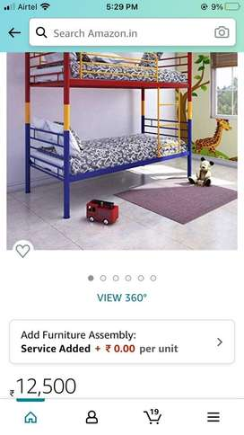 Double story bed , malticolour bed , iron bed