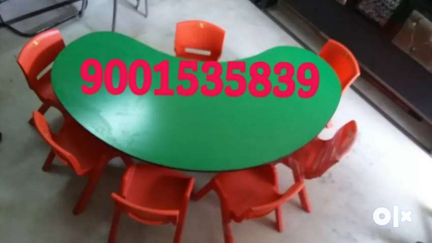 New play school furniture half moon table with 6 chair 0