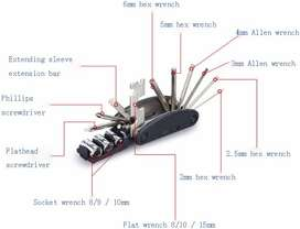 Multifunctional 15 in 1 EDC Repair Tool Stainless Steel / multi tool