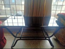 Centre Table with glass top and revolving leather Chair