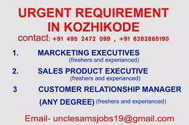 Urgent  vaccancy for marketing executives