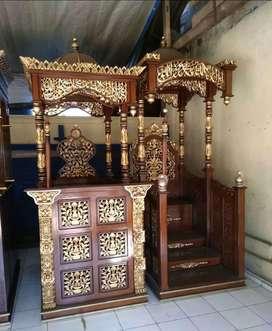 mimbar masjid kubah kayu jati minimalis