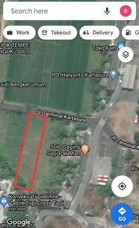 Tanah 1839m kering industri gudang barat Terminal Kartasura, dekat tol