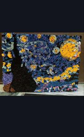 Hand made painting the starry night paper work on canvas