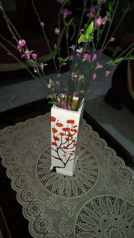 White hand painted vase.