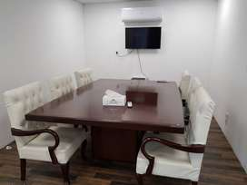 2 - Board Room Table with 12 White Chairs