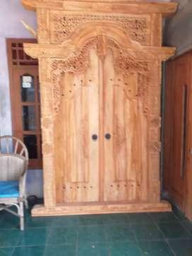Gebyok gapuro pintu kusen ukuran 150x  250 bahan kayu jati pilihan