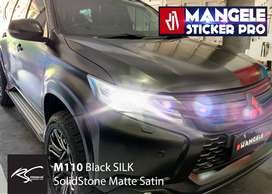 EXCLUSIVE SILK Satin Premium Wrapping Stiker Mobil Mangele hitam doff