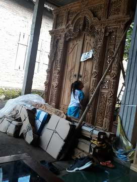 Cuci gudang pintu gebyok ukir ukuran 200 x 250 cm kayu jati asli dasah