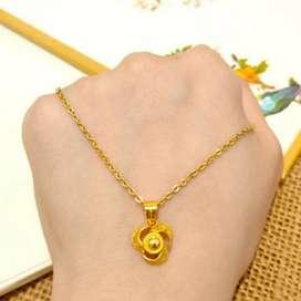 Kalung Liontin Bunga Jewellery Necklace Gold Flower Toko Emas asli