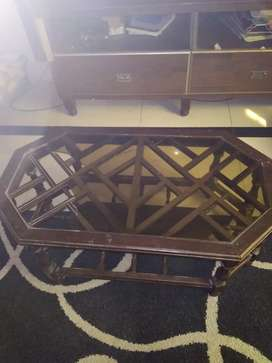 3 glass top wooden tables
