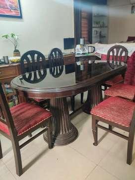 Teakwood Dining table set 6 seater