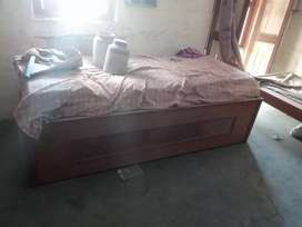 Folding Wooden Double bed with storage and matress