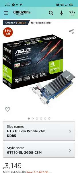 Asus Graphics card 2gb 710 fixed price