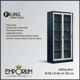 Lemari Arsip File pintu Sliding full Kaca | pintu ayun full kaca